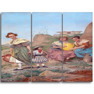 Design Art 'Richard Dadd - Negation' Canvas Art Print - 28Wx36H Inches - 3 Panels