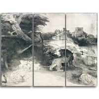 Design Art 'Rembrandt Harmensz - Saint Jerome' Canvas Art Print - 28Wx36H Inches - 3 Panels