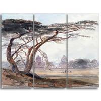 Design Art 'Peter DeWint - Greenwich' Canvas Art Print - 28Wx36H Inches - 3 Panels