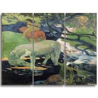 Design Art 'Paul Gauguin - The White Horse' Canvas Art Print - 28Wx36H Inches - 3 Panels