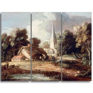 Design Art 'Thomas Gainsborouh - Landscape with Cottage and Church' Canvas Art Print