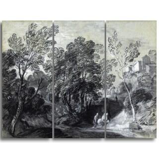 Design Art 'Thomas Gainsborouh - Wooded Landscape with Figures' Canvas Art Print
