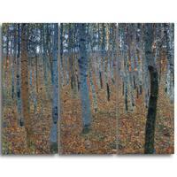 Design Art 'Gustav Klimt - Beech Grove' Canvas Art Print - 28Wx36H Inches - 3 Panels
