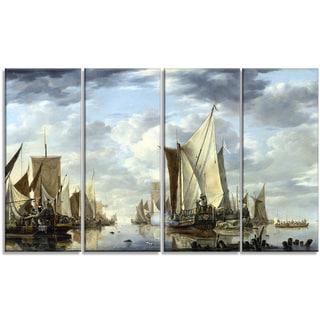 Design Art 'Jan van de Cappelle - Shipping in a Calm at Flushing' Canvas Art Print