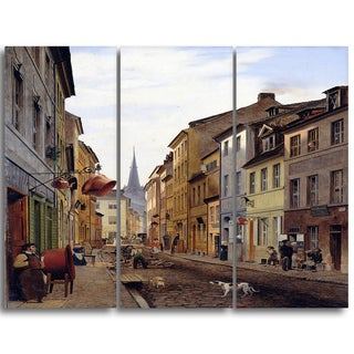 Design Art 'Eduard Gaertner - Parocialstraße' Canvas Art Print - 28Wx36H Inches - 3 Panels