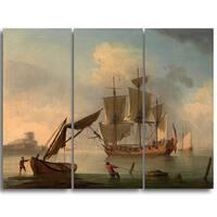 Design Art 'Francis Swaine - An English Sloop Becalmed' Canvas Art Print