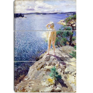 Design Art 'Anders Zorn - In the Skerries' Canvas Art Print - 28Wx36H Inches - 3 Panels