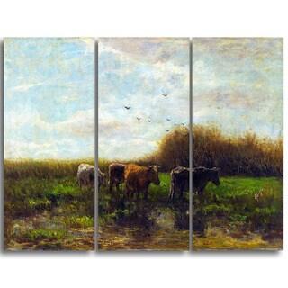 Design Art 'Willem Maris - Cows at Evening' Canvas Art Print