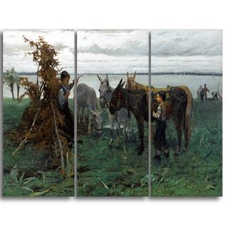 Design Art 'Willem Maris - Boys Herding Donkeys' Canvas Art Print