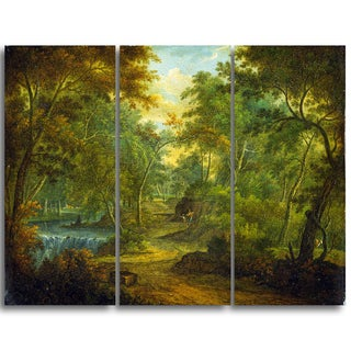 Design Art 'Thomas Smith of Derby - Wooded Landscape with Stream' Canvas Art Print