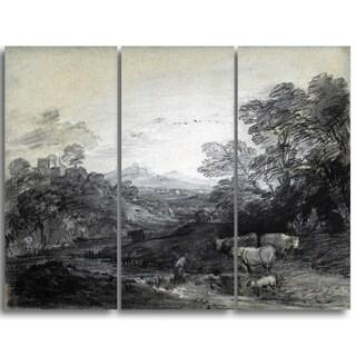 Design Art 'Thomas Gainsborouh - Wooded Landscape with Herdsmen' Canvas Art Print