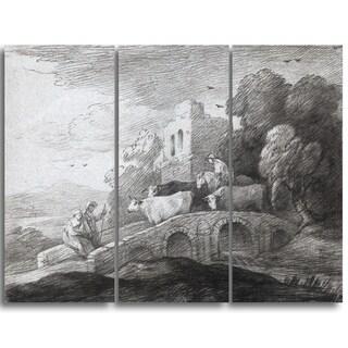 Design Art 'Thomas Gainsborouh - Wooded Landscape with Herdsman' Canvas Art Print