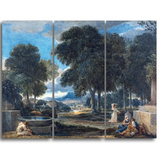 Design Art 'David Cox - A Man Washing His Feet at a Fountain' Landscape Canvas Arwork