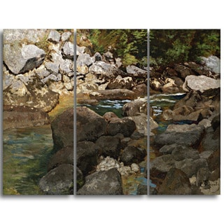 Design Art 'Carl Schuch - Mountain Stream with Boulders' Landscape Canvas Arwork