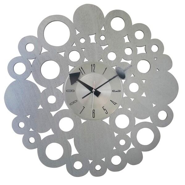 Mid-century Modern Vintage 20-inch Wood Circle Blossom Clock