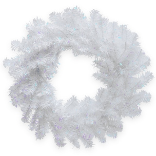 White Iridescent 24-inch Tinsel Wreath