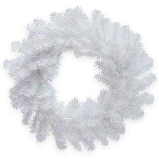 White Iridescent 24-inch Tinsel Wreath