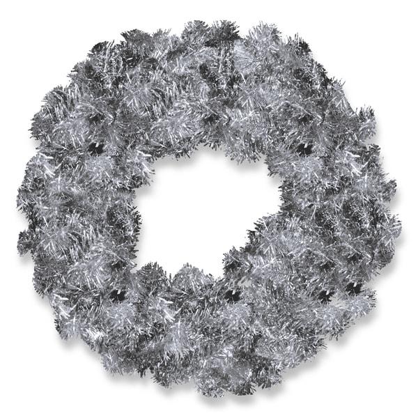Silver 24-inch Tinsel Wreath