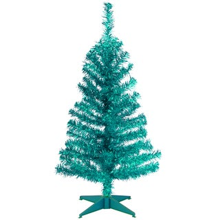 Turquoise 3-foot Tinsel Tree