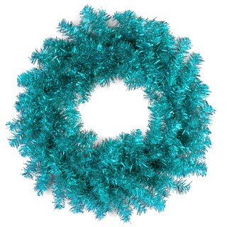 Turquoise 24-inch Tinsel Christmas Wreath