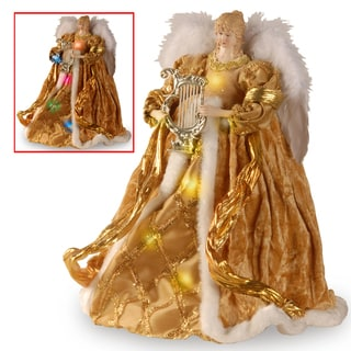 16-inch Gold Tree Top Angel with Dual ColorLED Lights