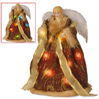 16-inch Burgundy and Gold Tree Top Angel with Dual ColorLED Lights