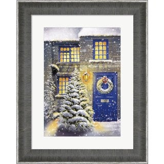 DBK-Art Licensing 'Blue Door and White Christmas' Framed Art