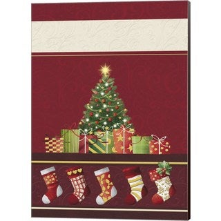 DBK-Art Licensing 'Christmas Tree and Stockings In Red' Canvas Art