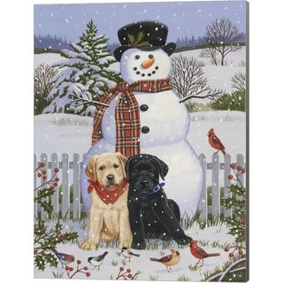 William Vanderdasson 'Backyard Snowman with Friends' Canvas Art