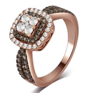 Divina 10k Rose Gold 7/8ct TDW Champagne and White Diamond Ring