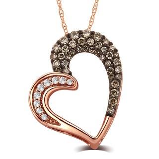 Divina 10k Rose Gold 1/3ct TDW White and Champagne Diamond Heart Pendant (G-H, I1-I2)