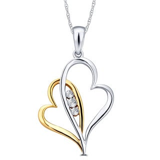 Divina 10k Two-tone Gold 1/10ct TDW Diamond Double Heart Pendant (G-H, I1-I2)