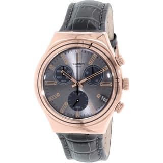 Swatch Men's Irony YCG411 Grey Leather Swiss Quartz Watch|https://ak1.ostkcdn.com/images/products/10660246/P17726173.jpg?impolicy=medium