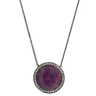 Sterling Silver Ruby and 5/8ct TDW Diamond Necklace