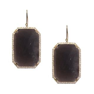 14k Yellow Gold Smokey Quartz and 1 3/4ct TDW White Diamond Earrings