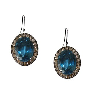 Sterling Silver Blue Topaz and 2 1/3ct TDW Diamond Earrings