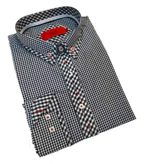 Elie Balleh Milano Men's Black Gingham Slim Fit Shirt|https://ak1.ostkcdn.com/images/products/10660344/P17726252.jpg?impolicy=medium