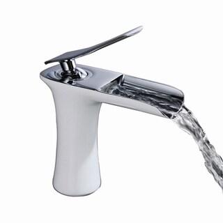 Sumerain Chrome and White Single-Hole Waterfall Bathroom Faucet