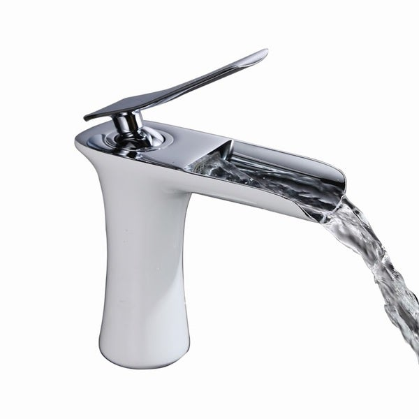 Beau Sumerain Chrome And White Single Hole Waterfall Bathroom Faucet