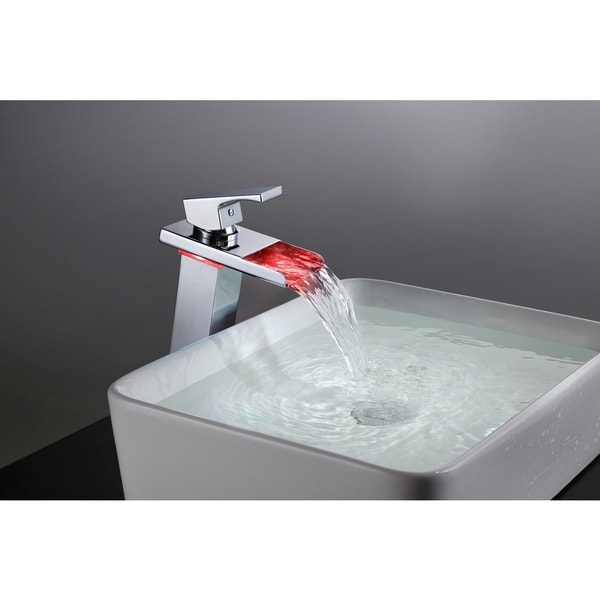 Sumerain Thermal LED Single Hole Stainless Steel Waterfall Bathroom Faucet