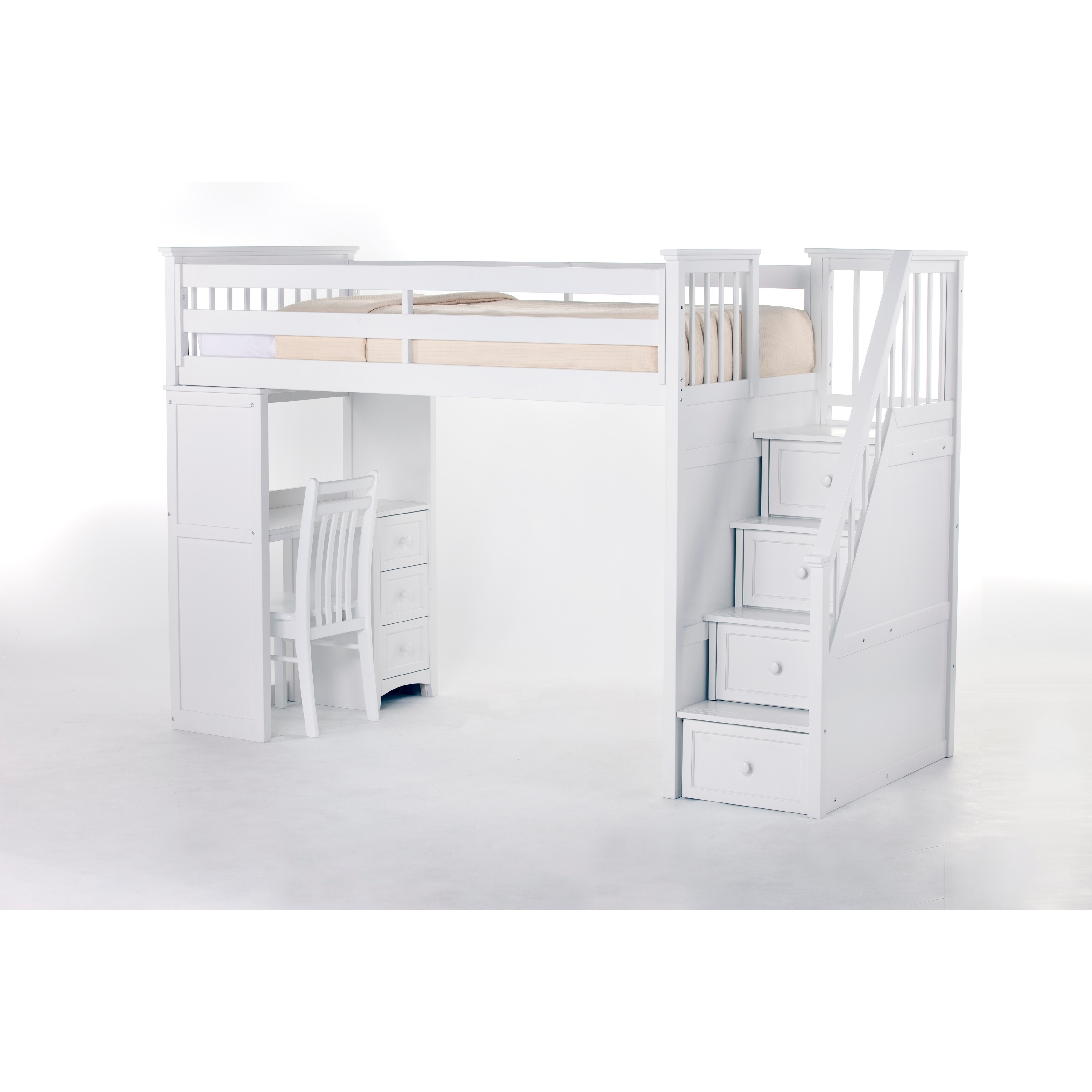 NE Kids School House White Stair Loft with Desk End (Stai...