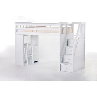 NE Kids School House White Stair Loft with Desk End