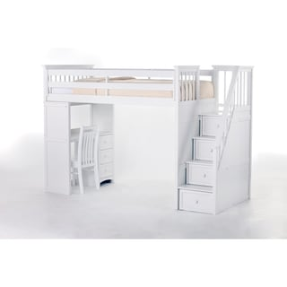 NE Kids School House White Stair Loft with Desk End