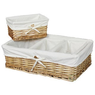 Quickway Fabric-lined Bamboo Baskets (Set of 4)