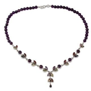 Sterling Silver 'Wild Feminine' Multi-gemstone Necklace (India)