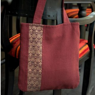Handcrafted Cotton 'Golden Lanna Lotus' Shoulder Bag (Thailand)