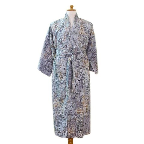 Handmade Men's Cotton Batik 'Bull Snake' Robe (Indonesia)