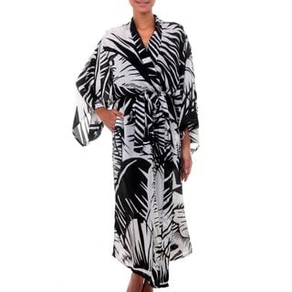 Silk 'Palm Frond Shadow' Robe (Indonesia)