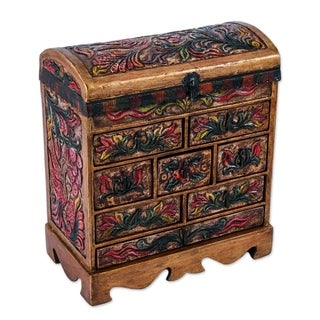Bright Hummingbird Multicolor Hand Tooled Leather and Wood Eight Drawer Curved Lid Chest Style Jewelry Box (Peru)