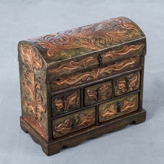 Handcrafted Wood Leather 'Antique Green' Jewelry Box (Peru)